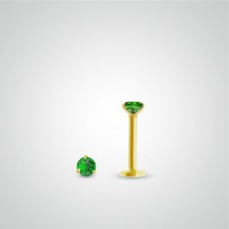 Yellow gold emerald (0,05cts) tragus piercing (internally threaded)
