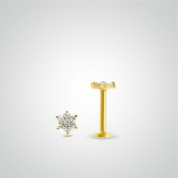 Yellow gold white flower tragus piercing (internally threaded)