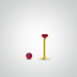 Yellow gold ruby (0,05cts) tragus piercing (internally threaded)