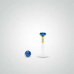 Yellow gold sapphire (0,05cts) tragus piercing
