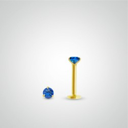Yellow gold sapphire (0,05cts) tragus piercing (internally threaded)