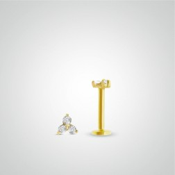 Yellow gold three zircons labret piercing (internally threaded)