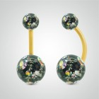 Yellow gold belly button piercing with Swarovski balls (multicolour)